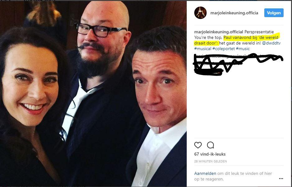 Marjolein kondigde o pInstagram aan dat Paul vanavond bij Dwdd zit